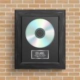Вектор награды диска КОМПАКТНОГО ДИСКА Самый лучший продавец Современная церемония Реалистическая рамка, диск альбома, кирпичная  бесплатная иллюстрация