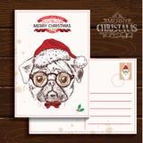 Вектор нарисованный рукой бульдога с рождеством Стоковые Фотографии RF