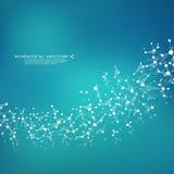 Вектор дна и нейронов молекулы молекулярная структура Соединенные линии с точками Генетические химические соединения Химия Стоковое Изображение