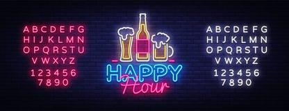 Вектор неоновой вывески счастливого часа Неоновая вывеска шаблона дизайна счастливого часа, обедающий ночи, знамя торжества светл Стоковое Изображение