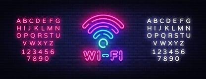 Вектор неоновой вывески Wifi Письма светя, светлое знамя неона символа Wifi накаляя, неоновый текст также вектор иллюстрации прит Стоковое Изображение RF