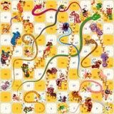 Вектор Нового Года змейки и настольной игры лестницы китайский