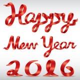 Вектор Нового Года 2016 красной ленты счастливый Стоковое Изображение