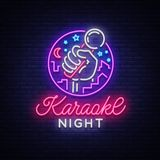 Вектор ночи караоке Неоновая вывеска, светящий логотип, символ, светлое знамя Рекламировать яркий бар караоке ночи, партия, диско иллюстрация штока