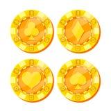 Вектор обломоков покера Карточка одевает знак Плоский, комплект шаржа Деньги игры Игра в покер золота откалывает знак изолированн иллюстрация штока