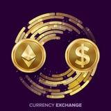 Вектор обменом денег валюты цифров Доллар Ethereum Fintech Blockchain Золотые монетки с потоком цифров иллюстрация штока