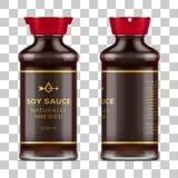 Вектор обозначил польностью стеклянную бутылку соевого соуса на прозрачной предпосылке бесплатная иллюстрация