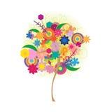 Вектор логотипа значка красочного дерева искусства красивый изолированный на белой предпосылке Стоковое фото RF