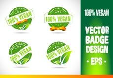 Вектор 100% логотипа значка Vegan Стоковое Изображение