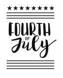 Вектор 4-ое июля мы литерность независимости Звезды и предпосылка нашивок Стоковая Фотография