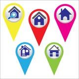 Вектор домашнего значка штыря красочный Стоковое Изображение