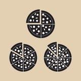 Вектор отрезка части пиццы установленный иллюстрация штока