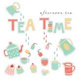 Вектор пастельного цвета иллюстрации doodle времени чая Стоковое Изображение RF