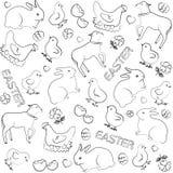 Вектор пасхи doodles безшовное с восточными символами и возражает предпосылку Стоковое Фото