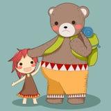 Вектор перемещения медведя и девушки Стоковые Фото