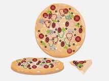 Вектор пиццы установленный на серую предпосылку Стоковое Изображение RF
