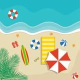 Вектор пляжа в плоском дизайне Стоковая Фотография RF