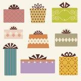 вектор подарка коробки установленный Стоковые Изображения