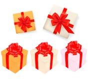 вектор подарка коробок установленный тесемками Стоковые Фотографии RF