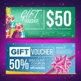 Вектор подарочного сертификата Горизонтальный талон Идея проекта для талона подарка Реклама покупок Подарок дела иллюстрация вектора