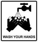 Вектор пожалуйста моет ваш знак рук, Стоковые Изображения RF