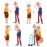 Вектор пожилых пар установленный Дед и бабушка Серебряные волосы Старшие дама и джентльмен ситуации Старый старший иллюстрация штока