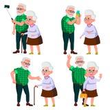 Вектор пожилых пар установленный Современные деды Старость С стеклами Смотрите на взволнованности счастливые люди совместно европ иллюстрация штока