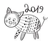 Вектор поздравительная открытка 2019 Новых Годов со свиньей иллюстрация вектора