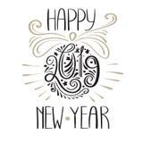 Вектор поздравительная открытка 2019 Новых Годов иллюстрация штока