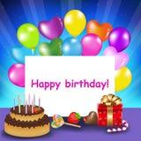 вектор поздравительой открытки ко дню рождения счастливый иллюстрация штока