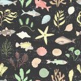 Вектор покрасил безшовную картину раковин моря, рыб, морских водорослей изолированных на черной текстурированной предпосылке иллюстрация вектора