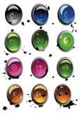 вектор покрашенного комплекта кнопки Стоковые Фотографии RF