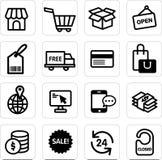 Вектор покупок значка установленный Стоковая Фотография