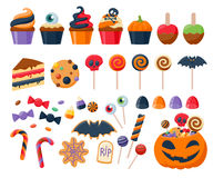 Вектор помадок партии хеллоуина красочными установленный значками Стоковые Изображения RF