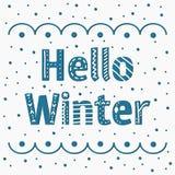 Вектор помечая буквами состав с голубой зимой слов здравствуйте Создать иллюстрация штока