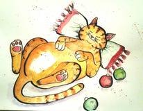 вектор подушки иллюстрации кота Иллюстрация вектора