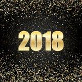 Вектор предпосылка черноты 2018 Новых Годов с текстурой splatter confetti яркого блеска золота иллюстрация штока