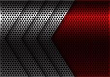 Вектор предпосылки абстрактного серебряного дизайна сетки круга стрелки красного современный футуристический Стоковые Изображения