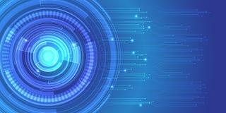 Вектор предпосылки дизайна сети передачи данных технологии цепи абстрактного круга голубой современный футуристический Стоковые Изображения