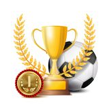 Вектор премии за достижения футбола Предпосылка знамени спорта Шарик, чашка победителя, золотое 1-ое медаль места футбол горящего иллюстрация вектора