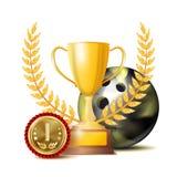 Вектор премии за достижения bowing Предпосылка знамени спорта Шарик, чашка победителя, золотое 1-ое медаль места реалистическо иллюстрация вектора