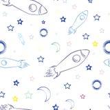 вектор предпосылки безшовный Космос и ракеты Стоковое Изображение
