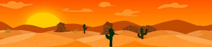 Вектор предпосылки пустыни с горами и кактусами Стоковое Изображение