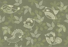 вектор птиц предпосылки флористический безшовный Стоковая Фотография RF
