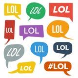 Вектор пузырей речи Lol Символ потехи взволнованность Лицевое выражение Стикеры Lol выражений Предназначенные для подростков аббр иллюстрация вектора