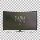 Вектор плазмы Lcd экрана Изогнутая панель приведенная экрана ТВ современная пустая изолированная на белой предпосылке иллюстрация иллюстрация штока