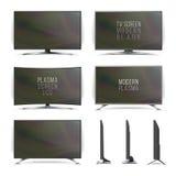 Вектор плазмы Lcd экрана Телевизор Изогнутый и плоский экран lcd ТВ, плазма стороны 2 белизна изолированная предпосылкой Realisti иллюстрация вектора