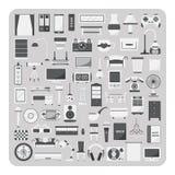 Вектор плоских значков, живущей комнаты и комплекта мебели Стоковые Изображения