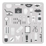 Вектор плоских значков, зубоврачебный комплект Стоковые Фотографии RF