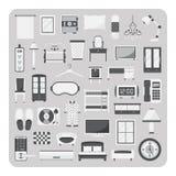 Вектор плоских значков, комплекта спальни и мебели Стоковая Фотография